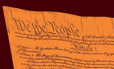 We The People Mixed Media - Us Constitution Sculpture Closest Closeup Red Brown Background by L Brown