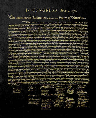 U.s. Declaration Of Independence In Gold On Black Velvet Art Print