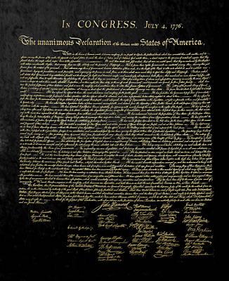 Digital Art - U.s. Declaration Of Independence In Gold On Black Velvet by Serge Averbukh