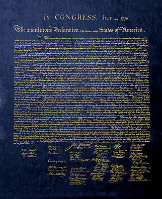 U.s. Declaration Of Independence In Gold On Blue Velvet Art Print