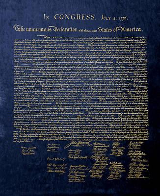 Digital Art - U.s. Declaration Of Independence In Gold On Blue Velvet by Serge Averbukh