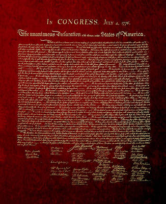 U.s. Declaration Of Independence In Gold On Red Velvet Art Print