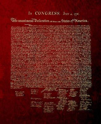 Digital Art - U.s. Declaration Of Independence In Gold On Red Velvet by Serge Averbukh