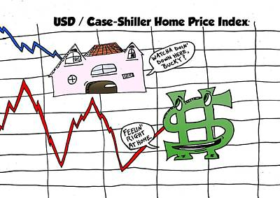 Index Mixed Media - Us Dollar And Case Shiller Home Price Index Caricature by OptionsClick BlogArt