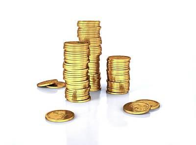 Coins Photograph - Us Dollar Coins by Leonello Calvetti