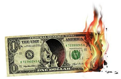 Burning Money Photograph - Us Dollar Crisis by Smetek