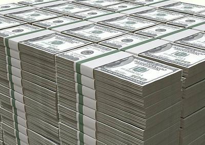 Us Dollar Notes Pile Art Print