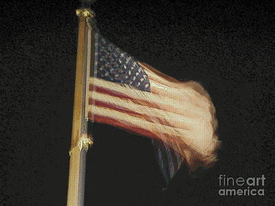 City Scenes Mixed Media - US Flag by Celestial Images