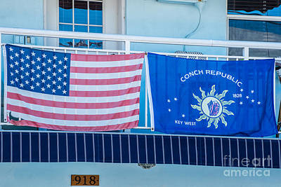 Conch Photograph - Us Flag And Conch Republic Flag Key West  by Ian Monk