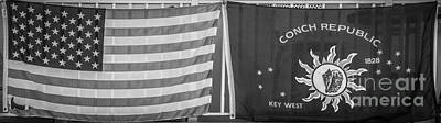 Red White And Blue Photograph - Us Flag And Conch Republic Flag Key West  - Panoramic - Black And White by Ian Monk