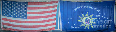 Multi Colored Photograph - Us Flag And Conch Republic Flag Key West  - Panoramic - Hdr Style by Ian Monk