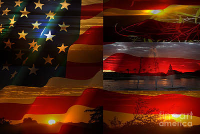 Us Flag Sunset Art Print by Beverly Guilliams