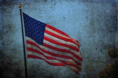 Photograph - Us Flag -blue Antiqued by Lesa Fine