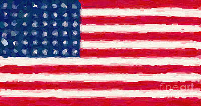 Abstract American Flag Painting - Flag Of The Brave by Celestial Images