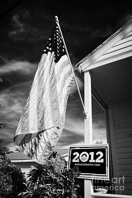 Us Flag Flying And Barack Obama 2012 Us Presidential Election Poster Florida Usa Art Print