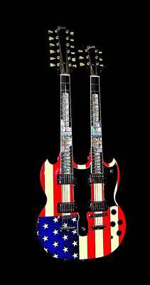 U S Flag Gibson Guitar Poster Art Print