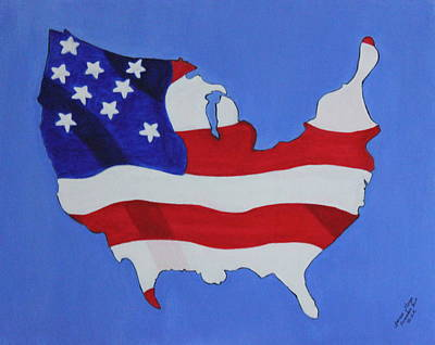 Us Flag Art Print by Lorna Maza