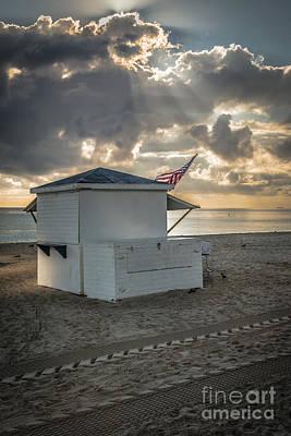 Us Flag On Beach Hut Illuminated By Early Morning Sun Art Print by Ian Monk