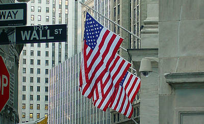 Photograph - Us Flag On Wall Street by Mieczyslaw Rudek