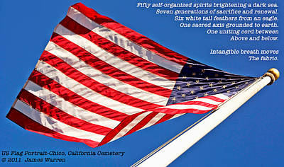 U S Flag Portrait At Chico Cemetery Art Print by James Warren