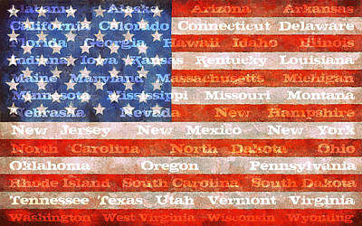 Photograph - Us Flag With States by Michelle Calkins