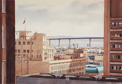 Bay Bridge Painting - Us Grant Hotel In San Diego by Mary Helmreich