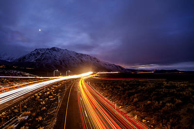 U.s. Hwy. 395 Light Trails Art Print by Cat Connor