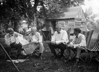 Old Log Cabin Photograph - Us Industrialists And Us President by Library Of Congress