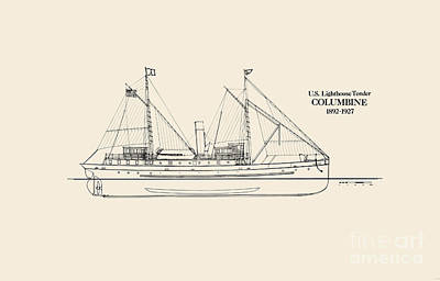 Uscg Drawing - U S  Lighthouse Tender Columbine by Jerry McElroy - Public Domain Image