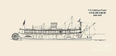 Uscg Drawing - U S Lighthouse Tender Goldenrod by Jerry McElroy - Public Domain Image