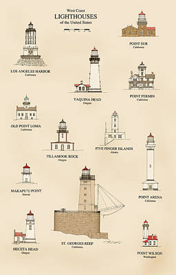 Ocean Scenes Drawing - Lighthouses Of The West Coast by Jerry McElroy - Public Domain Image