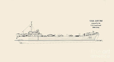 World War 2 Drawing - U S  L S T 785 by Jerry McElroy - Public Domain Image