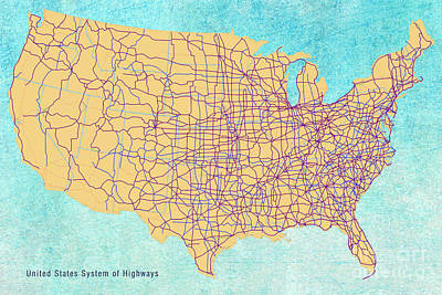 Digital Art - Us Map - System Of Highways by Paulette B Wright