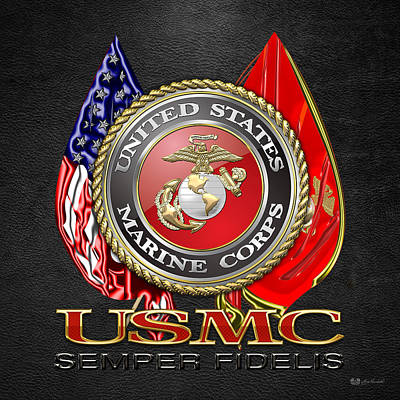 3d Digital Art - U. S. Marine Corps U S M C Emblem On Black by Serge Averbukh