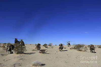 U.s. Marines Conduct An Airfield Art Print by Stocktrek Images