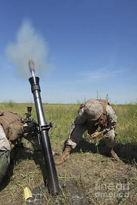 Owls - U.s. Marines Fire An M252 81mm Mortar by Stocktrek Images