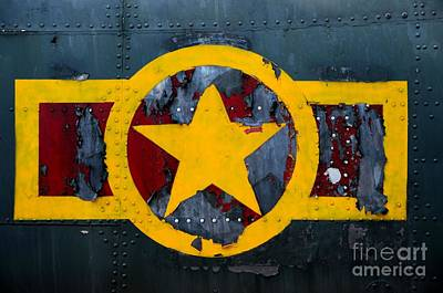 Photograph - Us Military Airplane Fuselage With Weathered Stars And Stripes Logo by Imran Ahmed