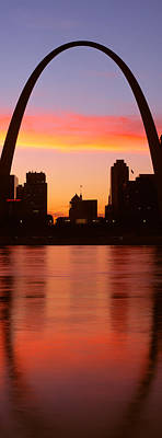 Crescent Moon Photograph - Us, Missouri, St. Louis, Sunrise by Panoramic Images