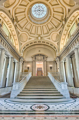 Of Stairs Photograph - Us Naval Academy Bancroft Hall I by Clarence Holmes