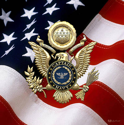 Collar Digital Art - Us Navy Captain - Capt Rank Insignia Over Gold Great Seal Eagle And Flag by Serge Averbukh