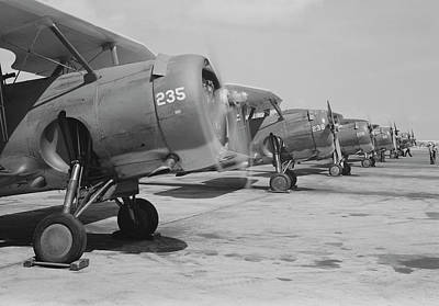 F3f Photograph - U.s. Navy F3f Fighter Planes Lined by Stocktrek Images