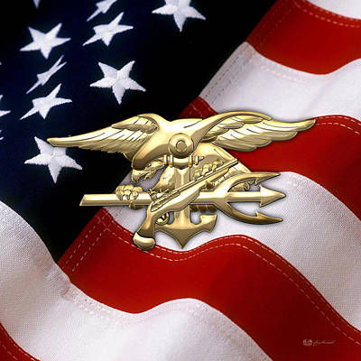 U. S. Navy S E A Ls Emblem Over American Flag Art Print by Serge Averbukh