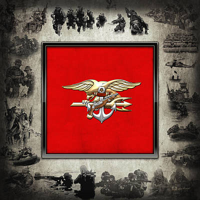 Digital Art - U. S. Navy S E A Ls Full Color Emblem Over Navy Seals Collage by Serge Averbukh