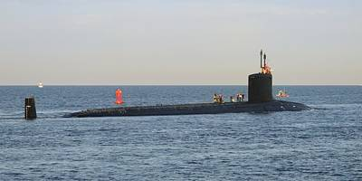 Photograph - Us Navy Submarine Leaving Port by Bradford Martin