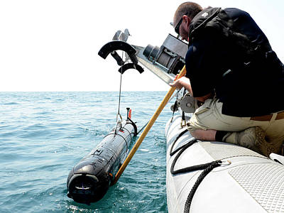 Civilians Photograph - Us Navy Underwater Mine Clearance Drone by U.s. Navy
