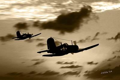 Digital Art - Us Navy Ww2 F4-u Corsairs by John Wills