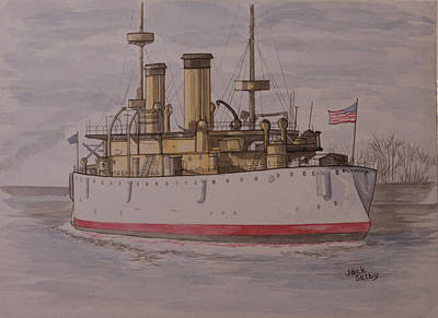Gunship Painting - Us Olympia At Penn's Landing In Philadelphia by Jack Selby