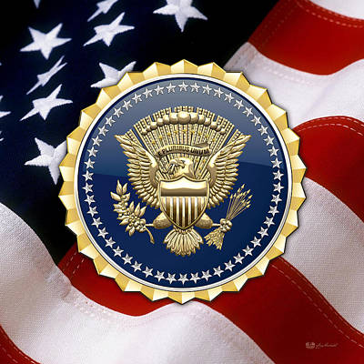 Digital Art - Presidential Service Badge - P S B Over American Flag by Serge Averbukh