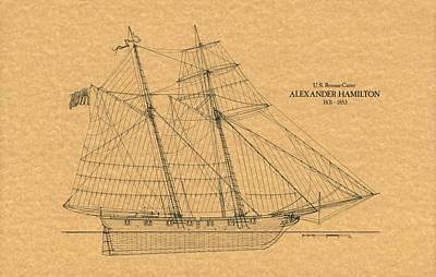 Schooner Photograph - U.s. Revenue Cutter Alexander Hamilton by Retro Images Archive