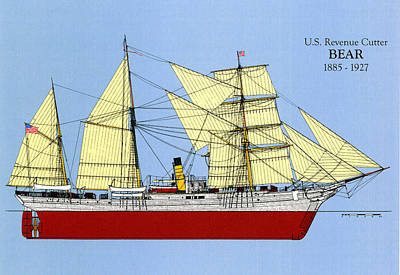 Coast Guard Drawing -  Revenue Cutter Bear by Jerry McElroy - Public Domain Image
